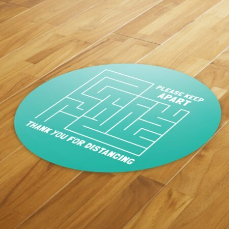 Maze Social Distance - 4 Pack Square Floor Stickers 8