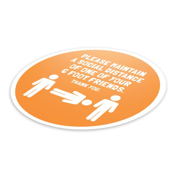 6 Foot Friend Social Distance - 4 Pack Square Floor Stickers 6
