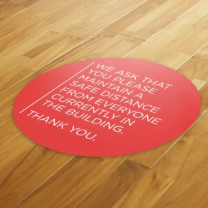 Notice Social Distance – 4 Pack Square Floor Stickers