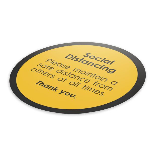 Notice Social Distance - 4 Pack Square Floor Stickers 3