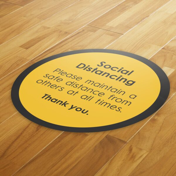 Notice Social Distance - 4 Pack Square Floor Stickers 4
