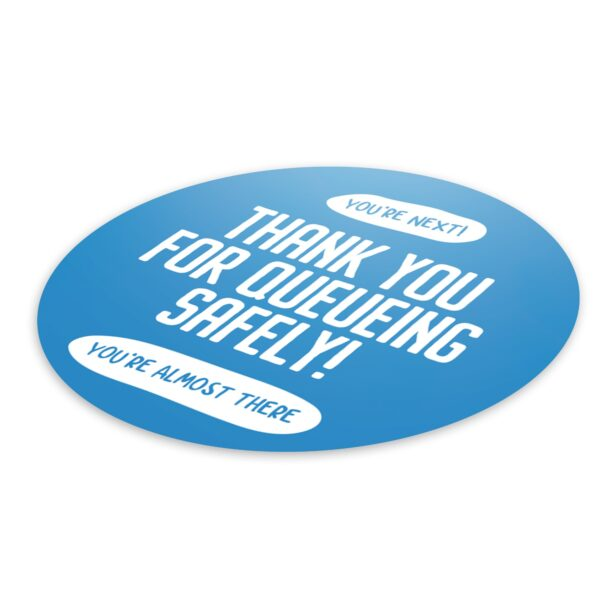 Thank You Queue Social Distance - 4 Pack Round Floor Stickers 3