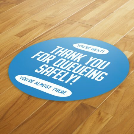 Thank You Queue Social Distance - 4 Pack Round Floor Stickers 8
