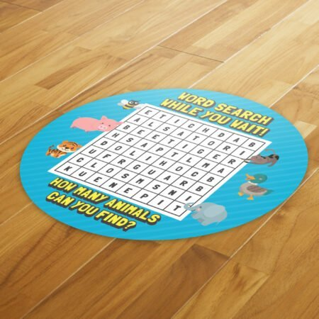 Wordsearch Social Distance - 4 Pack Square Floor Stickers 8