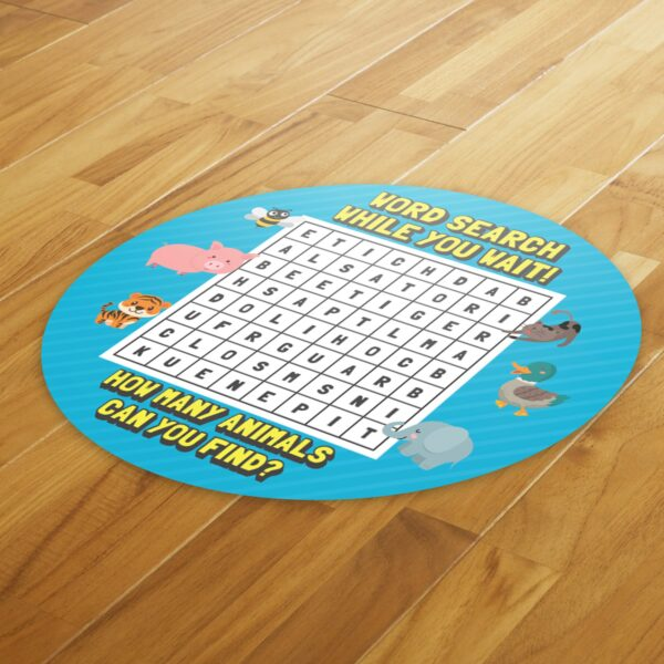 Wordsearch Social Distance - 4 Pack Square Floor Stickers 4