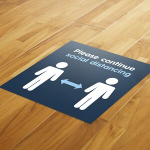 Blue Social Distancing – 4 Pack Square Floor Stickers