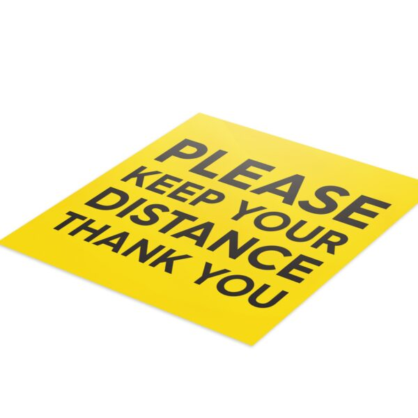 Yellow Social Distancing - 4 Pack Square Floor Stickers 3