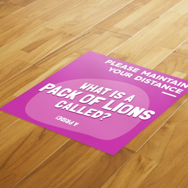 Fun Fact 1 Social Distancing - 4 Pack Square Floor Stickers 4