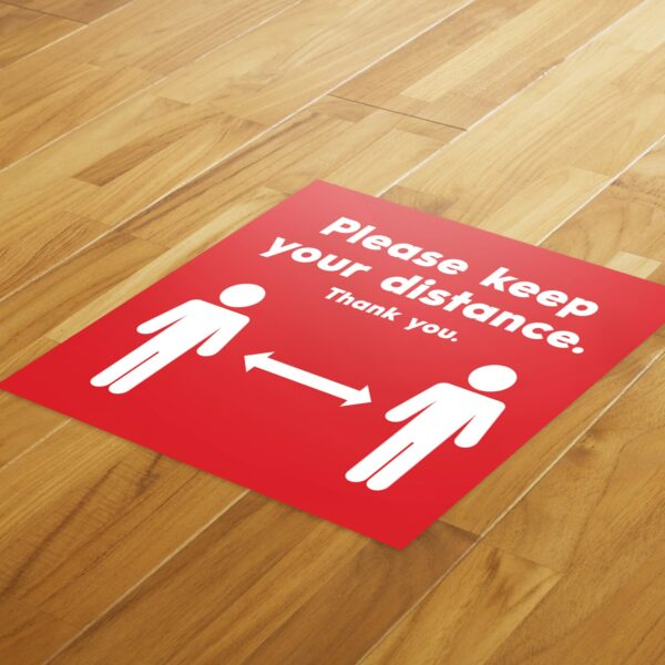 Red Social Distancing - 4 Pack Square Floor Stickers 8
