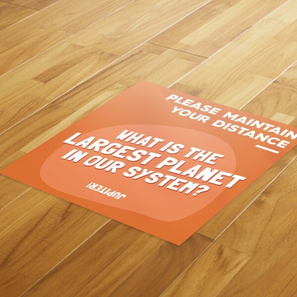 Fun Fact 4 Social Distancing - 4 Pack Square Floor Stickers 4