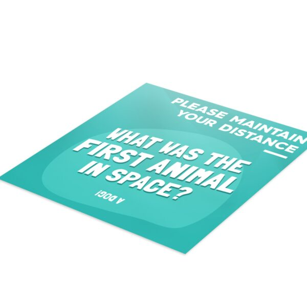 Fun Fact 6 Social Distancing - 4 Pack Square Floor Stickers 3