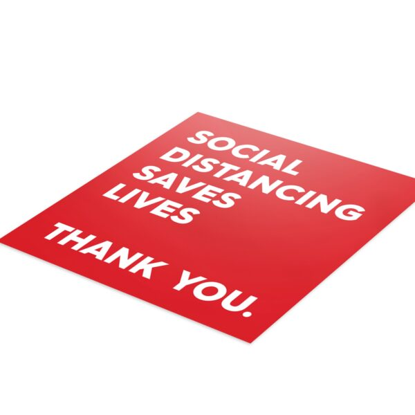 Red Thank You Social Distance - 4 Pack Square Floor Stickers 3