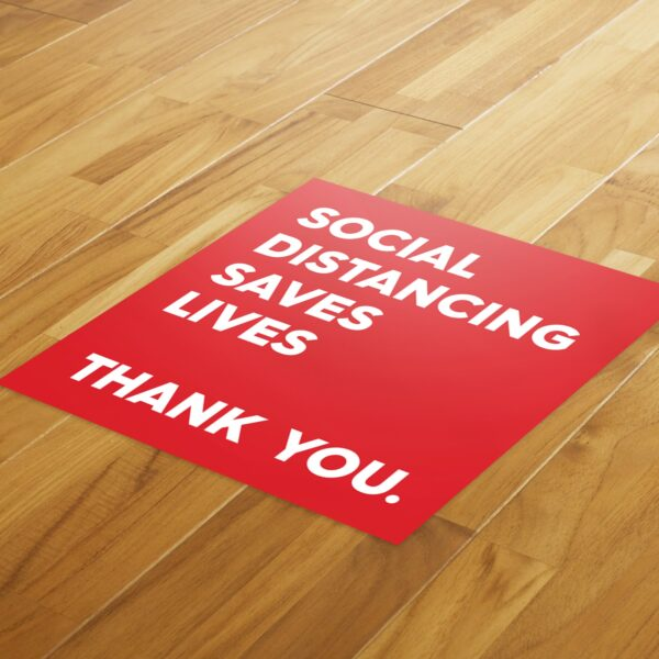 Red Thank You Social Distance - 4 Pack Square Floor Stickers 4