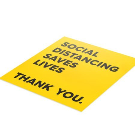 Yellow Thank You Social Distance - 4 Pack Square Floor Stickers 6