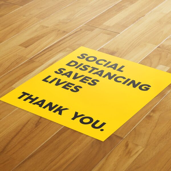 Yellow Thank You Social Distance - 4 Pack Square Floor Stickers 4