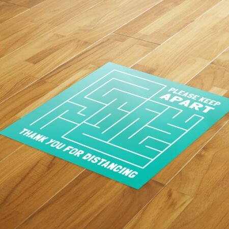 Maze Social Distance - 4 Pack Square Fun Floor Stickers 8