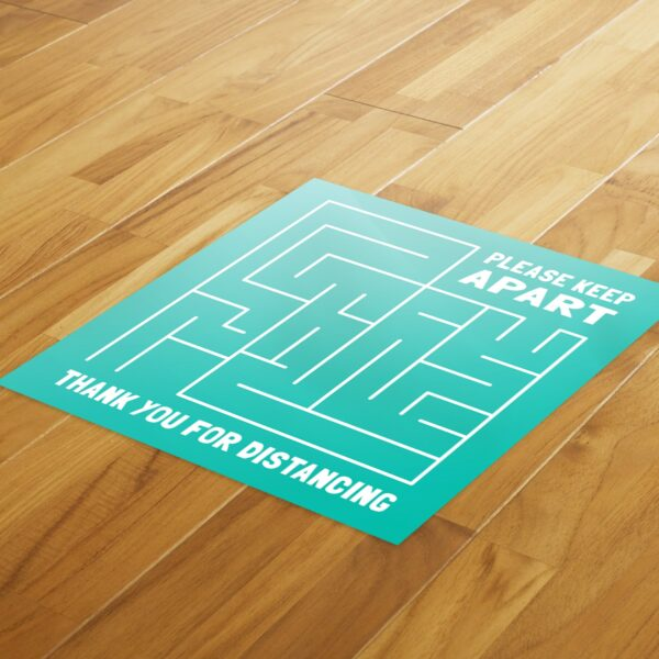 Maze Social Distance - 4 Pack Square Fun Floor Stickers 4