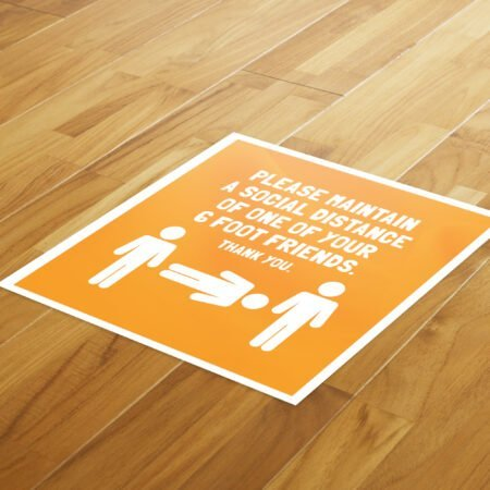 6 Foot Friend Social Distance - 4 Pack Square Floor Stickers 8