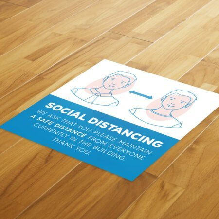 Medical Social Distance - 4 Pack Square Floor Stickers 8