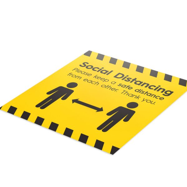 Hazard Social Distance - 4 Pack Square Floor Stickers 3
