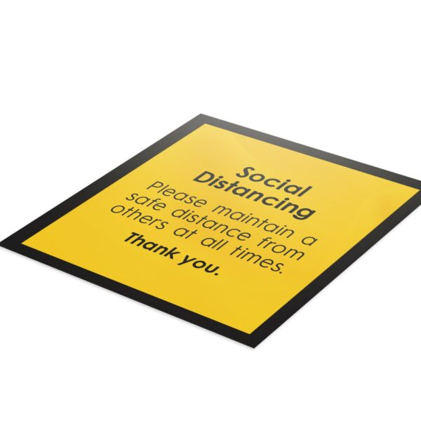 Notice Social Distance - 4 Pack Square Floor Stickers 6