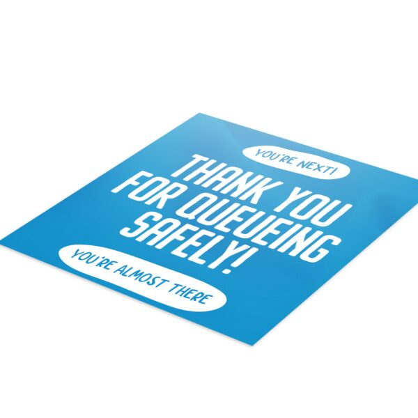 Thank You Queue Social Distance - 4 Pack Square Floor Stickers 2