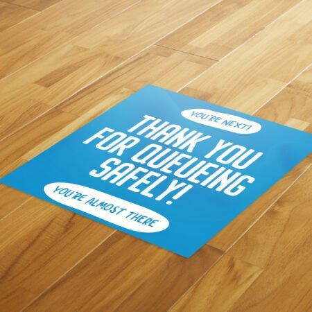 Thank You Queue Social Distance - 4 Pack Square Floor Stickers 6