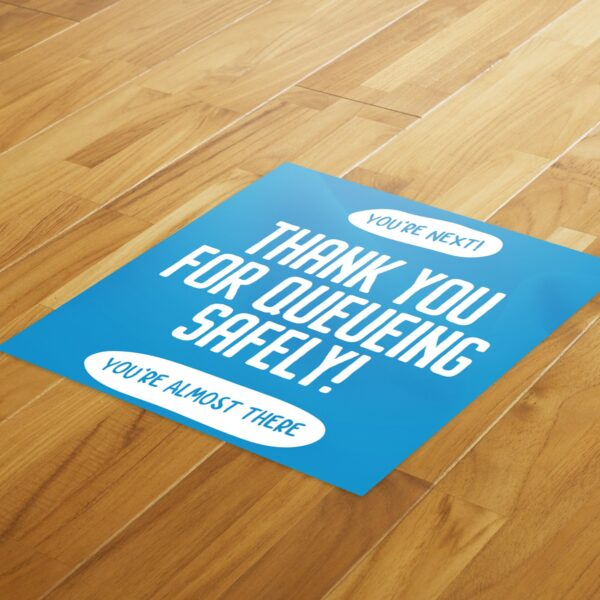 Thank You Queue Social Distance - 4 Pack Square Floor Stickers 3