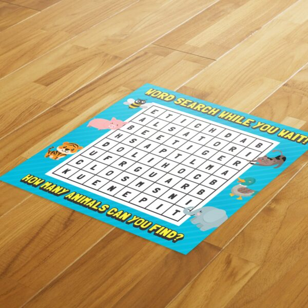 Wordsearch Social Distance - 4 Pack Square Floor Stickers 3