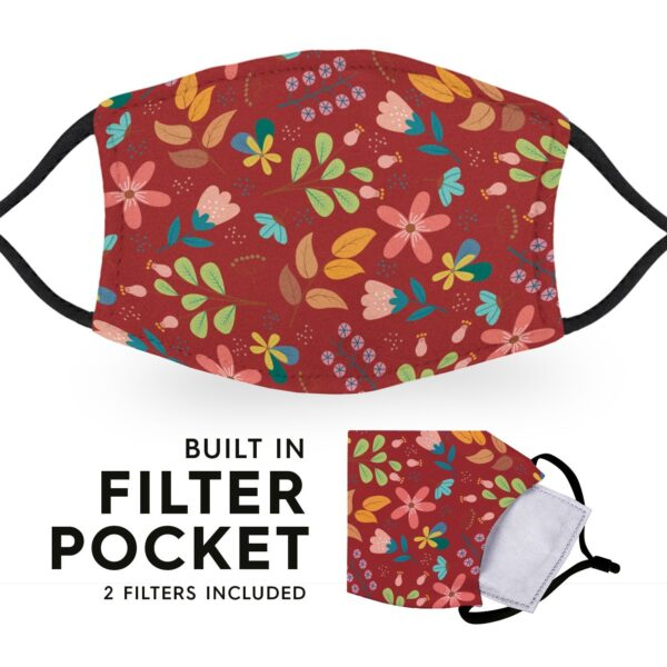 Red Flowers - Adult Face Masks 3