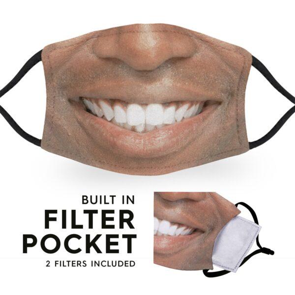 Black Man Smile - Adult Face Masks 6