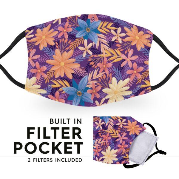 Purple Flowers - Adult Face Masks 3