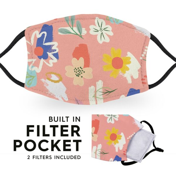 Painterly Flowers - Adult Face Masks 3