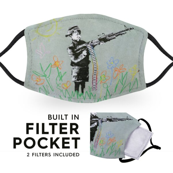 Banksy Child Soldier - Adult Face Masks - 2 Filters Included 3