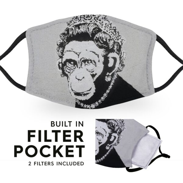 Banksy Chimp Queen - Adult Face Masks - 2 Filters Included 6