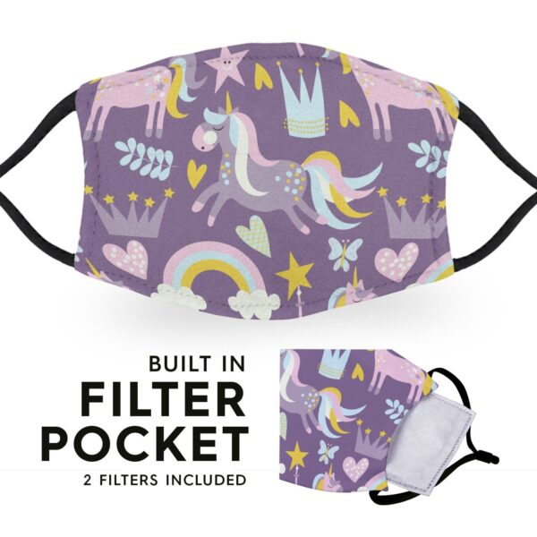 Cute Unicorns - Adult Face Masks - 2 Filters Included 3