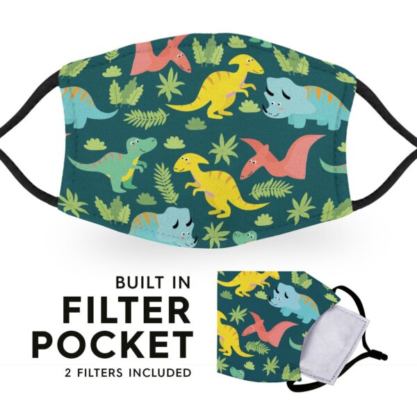 Cute Dinosaurs - Adult Face Masks - 2 Filters Included 6